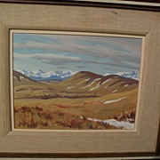 JOHN DAVENALL TURNER (1900-1980) Canadian art landscape painting near Cochrane, Alberta by wel
