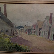 "LEANDER M. CHURBUCK (1861-1940) fine watercolor painting ""Rockport"" by noted Massachusetts artist"