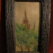 LILLIAN L. VOSBURGH (1857-1956) impressionist painting of French church on wood panel