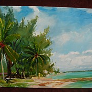 Colorful tropical beach impressionist painting signed and dated