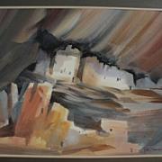 ROY E. SWANSON Southwest American art original watercolor painting of Mesa Verde Cliff ruins i