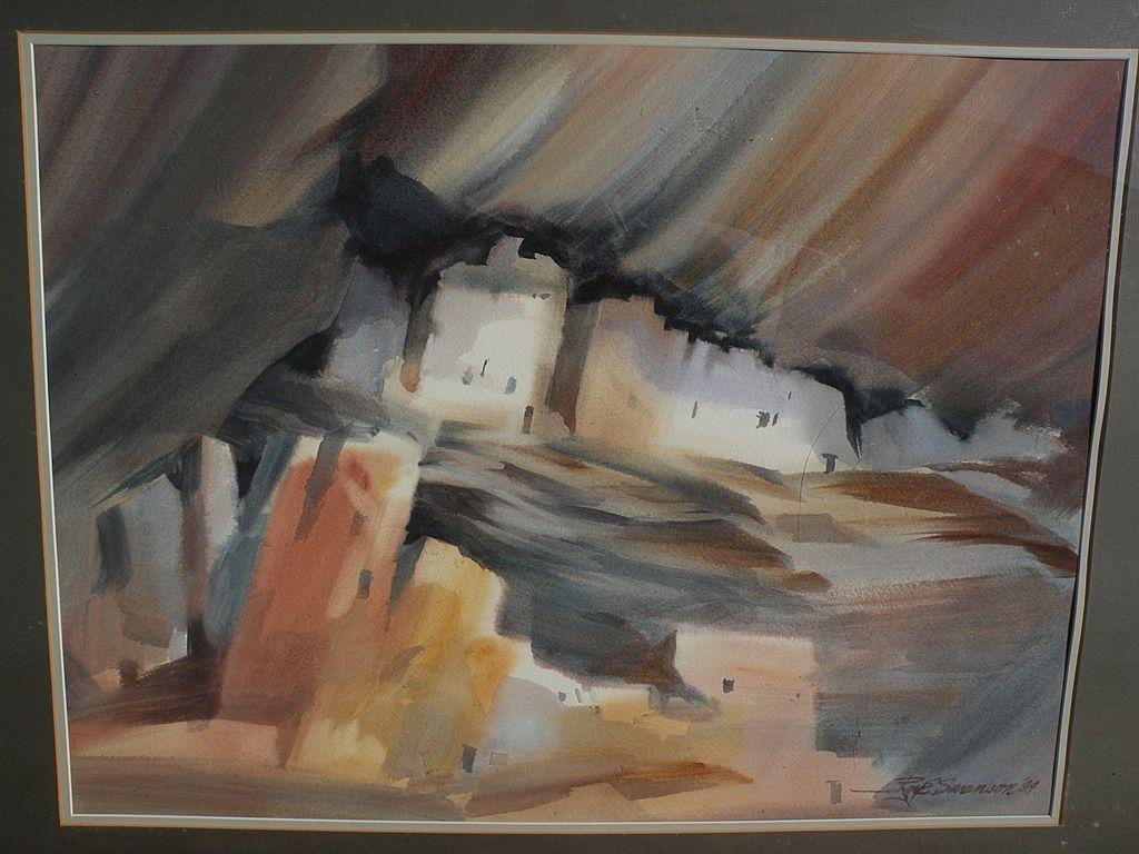 ROY E. SWANSON Southwest American art original watercolor painting of Mesa Verde Cliff ruins in Colorado