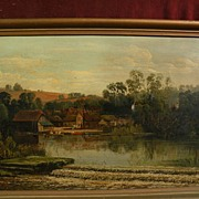 English 19th century Victorian painting of a riverside signed ALLAN