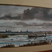 Contemporary American sporting art watercolor painting of duck hunters on a marsh