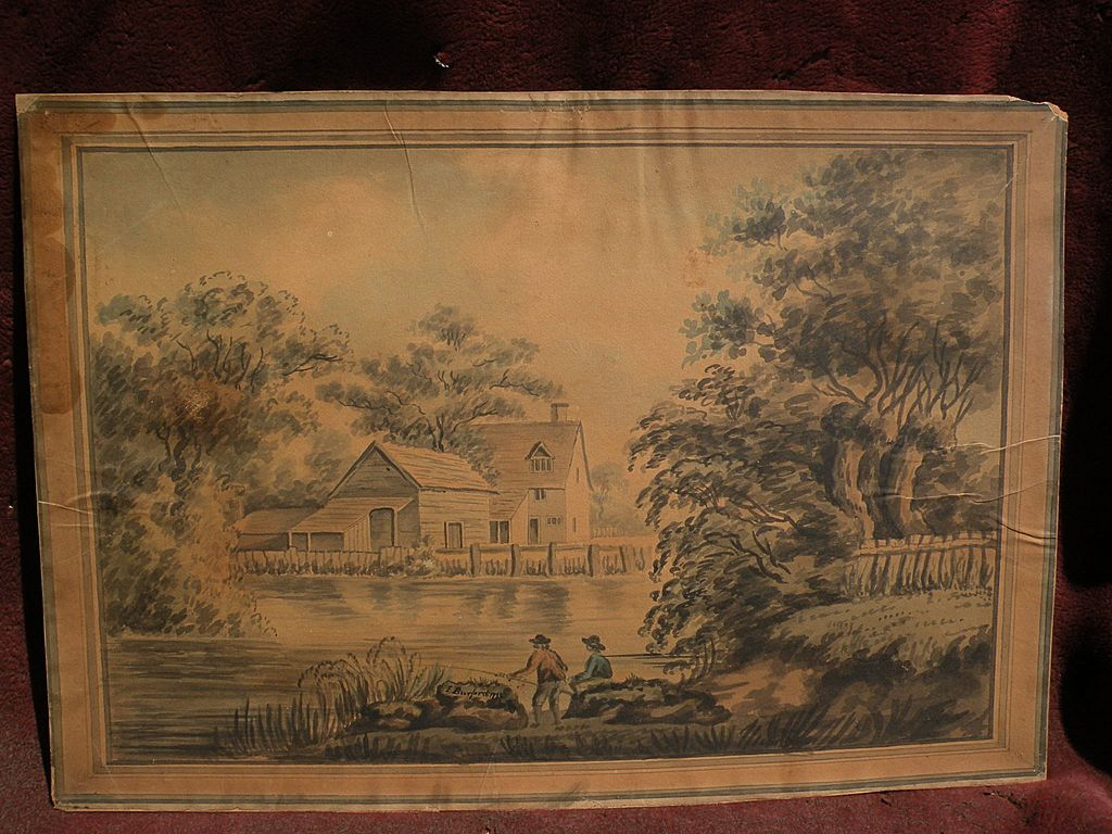 Signed 18th century English watercolor painting landscape men fishing on a pond