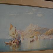 WILFRED KNOX (1884-1966) well listed English marine artist luminous Italian coastal scene