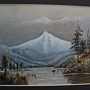 American Northwest vintage watercolor painting of Mount Hood Oregon circa 1900