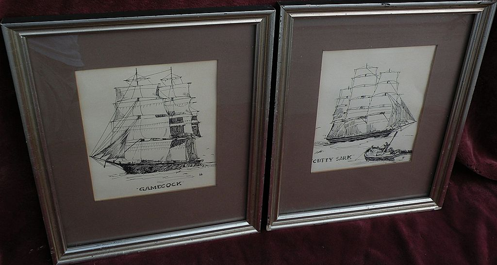 """PAIR of marine art ink drawings of clipper ships """"Gamecock"""" and """"Cutty Sark"""""""