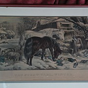 "CURRIER & IVES medium folio original lithograph print ""The Straw-Yard, Winter"""