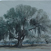 SOLD EDWARD CLARKE CABOT (1818-1901) Louisiana rare early watercolor painting by listed Boston