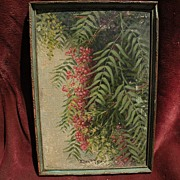 ELLEN BURPEE FARR (1840-1907) early California art painting of pepper tree branches by popular