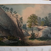 Currier and Ives small folio trimmed hand colored 1862 lithograph print Hudson River strolling