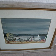 Signed gouache landscape painting dated 1943