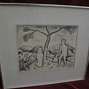 "VANCE HALL KIRKLAND (1904-1981) Colorado art pencil signed 1940 lithograph print ""Adam and Eve"""