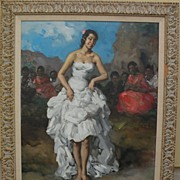 FRANCISCO RODRIGUEZ SANCHEZ CLEMENT (1893-1968) Spanish art large painting of a Flamenco dance