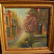 New Orleans Louisiana art unsigned impressionist painting of Esplanade Street