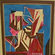 Original abstract signed drawing after important British modern artist DAVID BOMBERG (1890-195