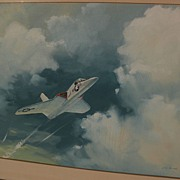 SOLD R. G. SMITH (1914-2001) important aviation artist original watercolor and gouache paintin