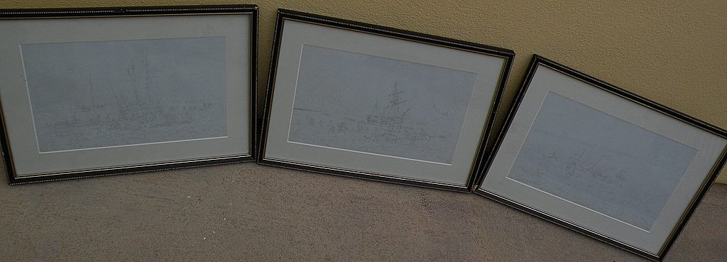 WILLIAM CALLOW (1812-1908) English 19th century art **three** fine pencil drawings of coastal shipping dated mid 1860's by important artist