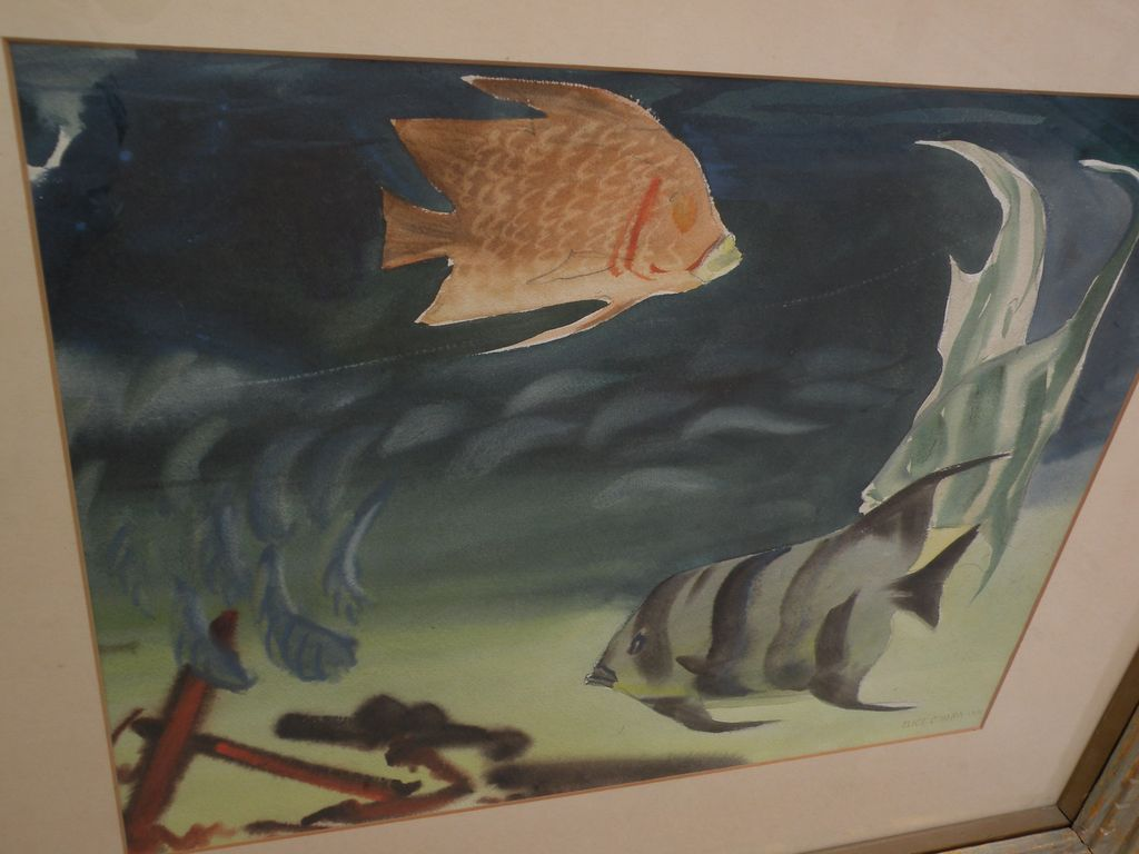 ELIOT O'HARA (1890-1969) original watercolor painting of tropical reef fish dated 1951 by well known watercolor artist and teacher
