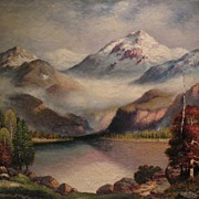 RICHARD DEY DE RIBCOWSKY (1880-1936) California art large oil on canvas mountain landscape painting