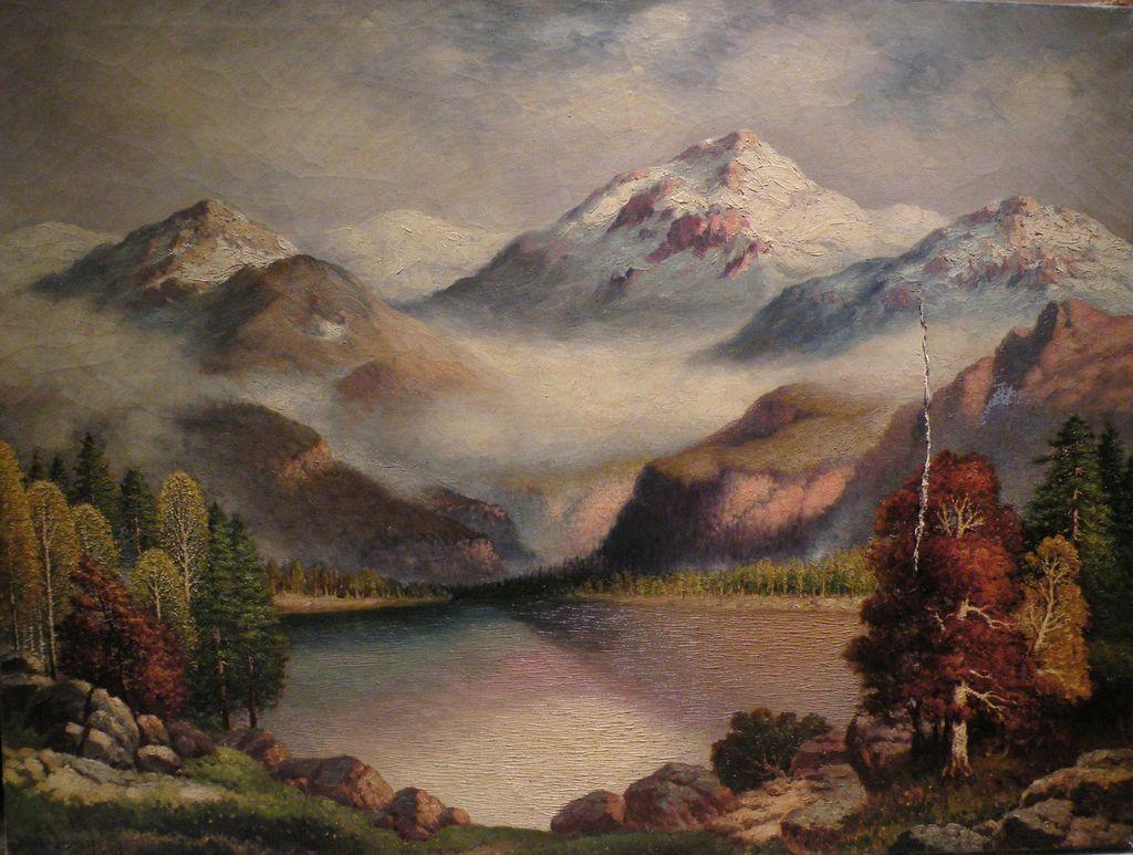RICHARD DEY DE RIBCOWSKY (1880-1936) California art large oil on canvas mountain landscape painting