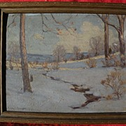 VICTOR COLEMAN ANDERSON (1882-1937) vintage American art impressionist snowscape painting