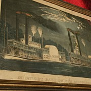 "CURRIER & IVES original hand colored 1875  lithograph ""Midnight Race on the Mississippi"""