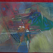 Italian mid century modern art original colorful and dynamic pastel drawing signed MARINO dated 1959