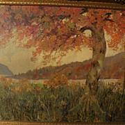 American impressionist art autumn landscape painting signed F. DUNCAN circa 1940's
