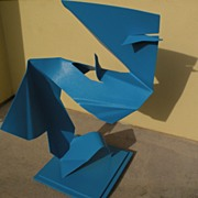 ELLIE RILEY California contemporary exhibited artist modernist blue painted aluminum sculpture