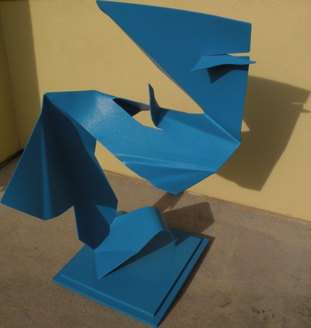 ELLIE RILEY California contemporary exhibited artist modernist blue painted aluminum sculpture dated 1998