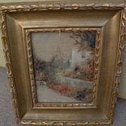 Bermuda or Caribbean vintage signed watercolor of house on a country lane