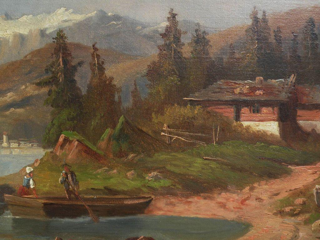 19th century European painting German or Austrian mountain