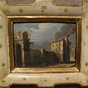 Decorative Italian art small painting in the style of old master Francesco Guardi (1712-1793)