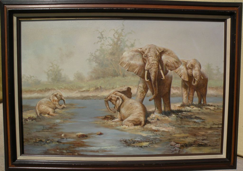 Sporting and wildlife art beautifully executed painting of elephants in the bush by artist Don Erdman