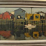 ARTHUR SARNOFF (1912-2000) American illustration art painting of fishing shacks and reflection