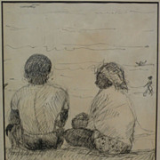 OMAR D'LEON (1929-) Nicaraguan art early ink drawing by well known painter and poet