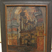 FRANTISEK JELINEK (1890-1977) Czech art painting dated 1916 of cathedral interior by well list