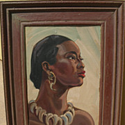 "EINAR C. PETERSEN (1885-1986) California art elegant portrait painting of African woman ""Black Ivory"""