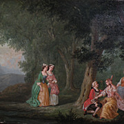 French art circa 1900 oil painting in 18th century style of a male suitor in a woodland landsc