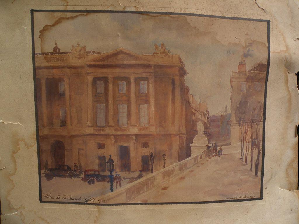 SAMUEL ELDON HOMSEY (1904-1994) Paris watercolor painting Place de la Concorde by listed Delaware artist