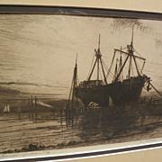 "HENRY FARRER (1844-1903) American art pencil signed etching ""Sunset--Gowanus Bay"" New York"