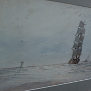 FRANK P. TYARS English marine art original gouache and watercolor painting of clipper ship dated 1903