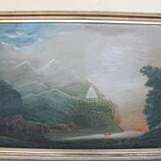 Unique American folk art circa 1875 allegorical or religious symbolism painting