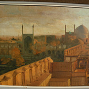 Elegant signed luminous painting of Masjid-e-shah mosque in Isfahan Iran dated 1966