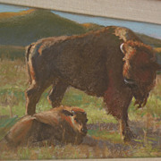 BONNITA BUDYSZ original pastel drawing of bison and calf by noted contemporary California plei