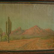 SOLD Early Arizona art 1897 desert landscape painting signed C. M. POGUE