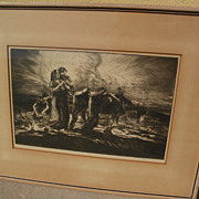 """JOHN EDWARD COSTIGAN (1888-1972) American art pencil signed 1940 lithograph """"Going Home"""""""