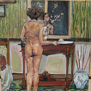 Contemporary American art interesting impressionist oil painting of a nude in an interior sign